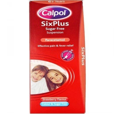 CALPOL 6+ S:FREE STRAWBERRY SUSP X 60ML